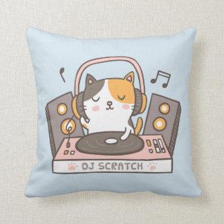 Cute DJ Scratch Kitty Cat Throw Pillow
