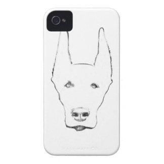 Cute Doberman Pinscher Dog Face Sketch iPhone 4 Case-Mate Cases