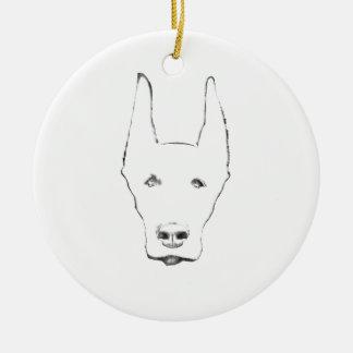 Cute Doberman Pinscher Dog Face Sketch Round Ceramic Ornament