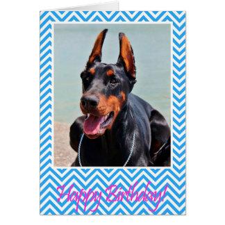 Cute Doberman Pinscher dog Happy Birthday Card