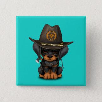 Cute Doberman Puppy Zombie Hunter 2 Inch Square Button