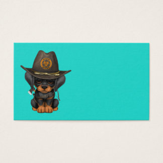 Cute Doberman Puppy Zombie Hunter Business Card