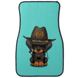 Cute Doberman Puppy Zombie Hunter Car Mat
