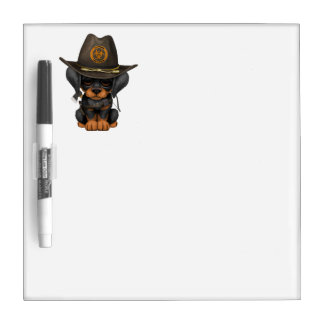 Cute Doberman Puppy Zombie Hunter Dry Erase Board
