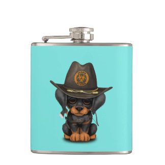 Cute Doberman Puppy Zombie Hunter Hip Flask