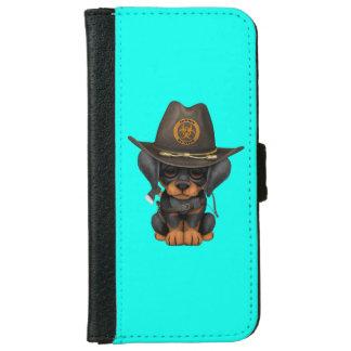 Cute Doberman Puppy Zombie Hunter iPhone 6 Wallet Case