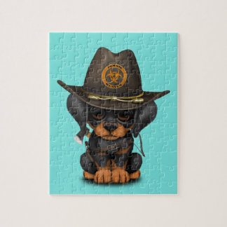 Cute Doberman Puppy Zombie Hunter Jigsaw Puzzle