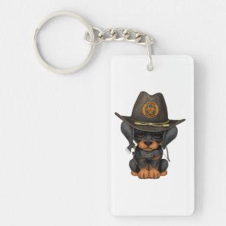 Cute Doberman Puppy Zombie Hunter Keychain