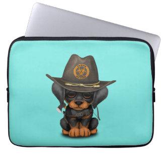 Cute Doberman Puppy Zombie Hunter Laptop Sleeve