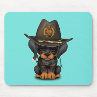 Cute Doberman Puppy Zombie Hunter Mouse Pad
