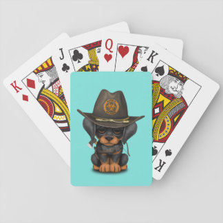 Cute Doberman Puppy Zombie Hunter Playing Cards