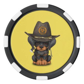 Cute Doberman Puppy Zombie Hunter Poker Chips