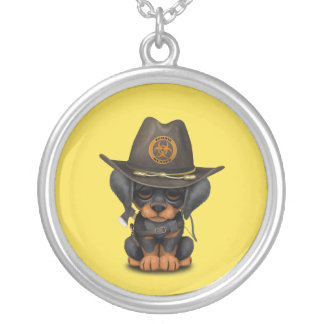 Cute Doberman Puppy Zombie Hunter Silver Plated Necklace