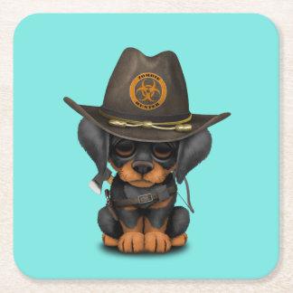 Cute Doberman Puppy Zombie Hunter Square Paper Coaster