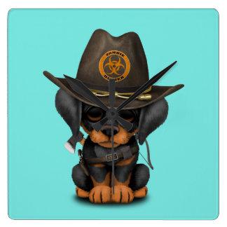 Cute Doberman Puppy Zombie Hunter Square Wall Clock