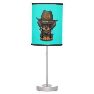 Cute Doberman Puppy Zombie Hunter Table Lamp
