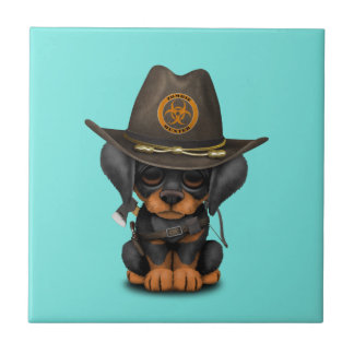 Cute Doberman Puppy Zombie Hunter Tile