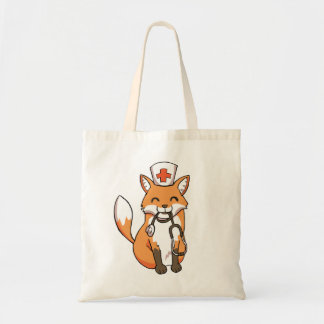 Cute Doctor Nurse Fox Stethoscope Drawing Tote Bag