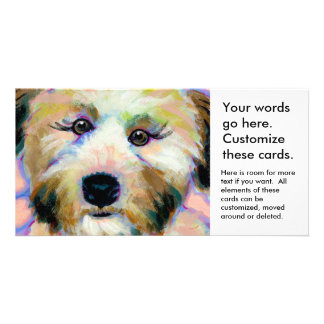 Cute dog adorable face fun colorful art painting personalized photo card