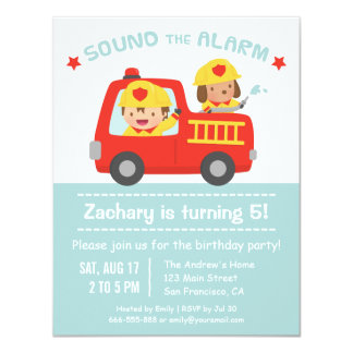 """Cute Dog and Boy Red Fire Truck Birthday Party 4.25"""" X 5.5"""" Invitation Card"""