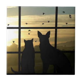 Cute Dog and Cat Art Tile
