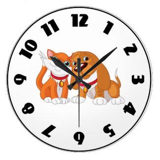 Cute Dog And Cat Clock