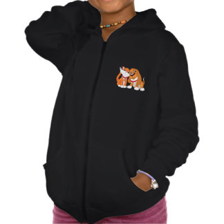 Cute Dog And Cat Girls Hoodie