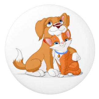 Cute Dog and Cat Knobs Ceramic Knob