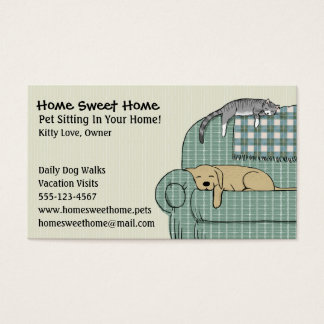 Cute Dog and Cat Pet Sitting | Animal Services Business Card