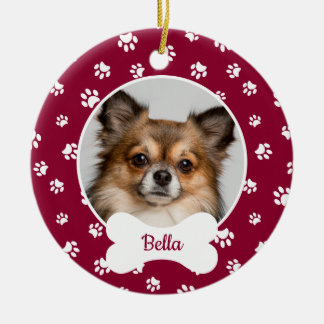 Cute Dog Bone Name Year Red & White Paw Prints Ceramic Ornament