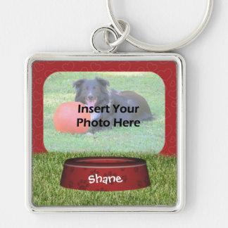 Cute Dog Bowl Design Pet Photo Keychain