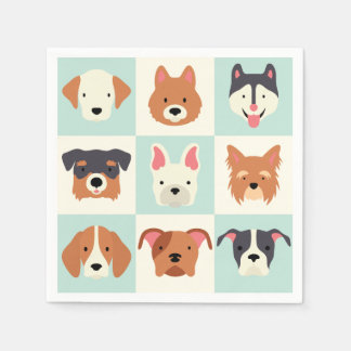 Cute dog breed light blue pattern disposable napkins