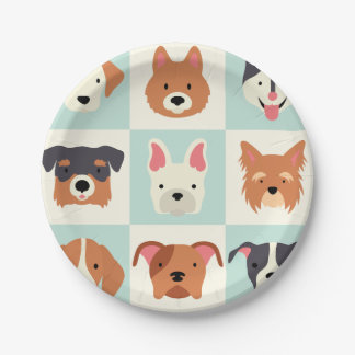 Cute dog breed light blue pattern paper plate