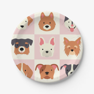 Cute dog breed pink pattern paper plate