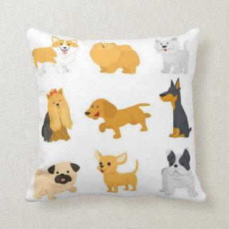 Cute Dog Breeds Throw Pillow