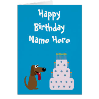 Cute Dog & Cake Birthday Animal Charity Blue Card