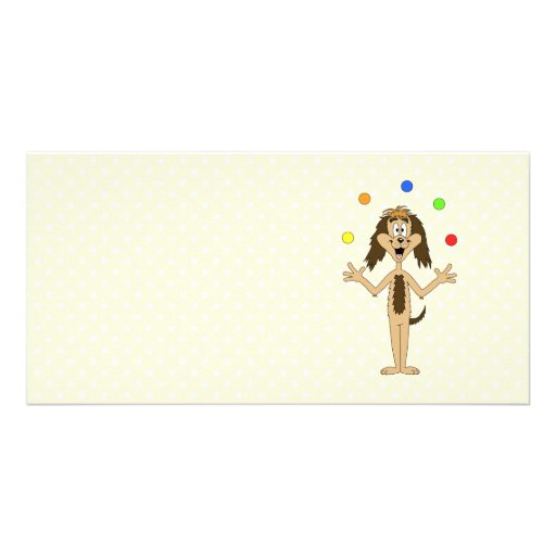 Cute Dog Cartoon. Juggler. Custom Photo Card