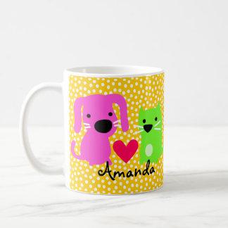 Cute Dog & Cat & Heart Coffee Mug