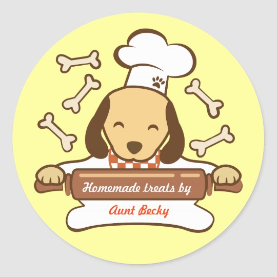 Cute dog chef rolling out cookie dough. classic round sticker