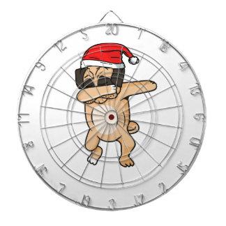 Cute Dog dab with santa hat Chrismas T-Shirt Dartboard