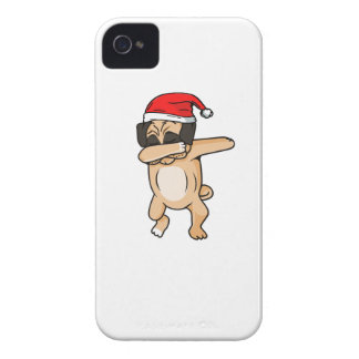 Cute Dog dab with santa hat Chrismas T-Shirt iPhone 4 Covers