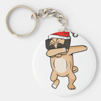 Cute Dog dab with santa hat Chrismas T-Shirt Keychain