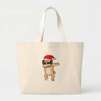 Cute Dog dab with santa hat Chrismas T-Shirt Large Tote Bag