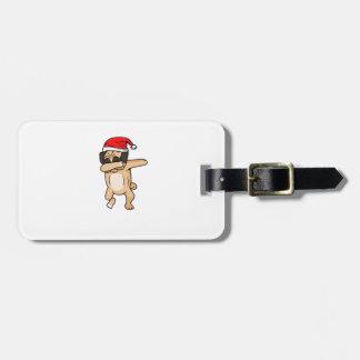 Cute Dog dab with santa hat Chrismas T-Shirt Luggage Tag