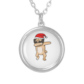 Cute Dog dab with santa hat Chrismas T-Shirt Silver Plated Necklace