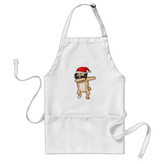 Cute Dog dab with santa hat Chrismas T-Shirt Standard Apron