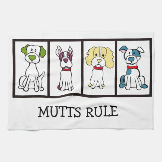 Cute Dog Dishtowel - Mutts Rule Kitchen Towel