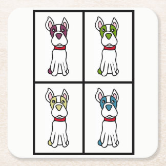 Cute Dog Drawing - Boston Terrier Square Paper Coaster