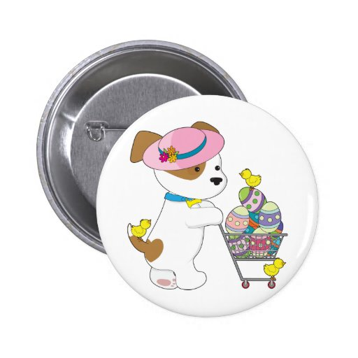 Cute Dog Easter Eggs Pinback Buttons