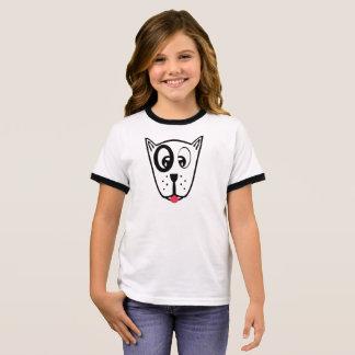 Cute Dog Face Ringer T-Shirt
